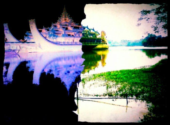 Hanging Out Park Lake 50/50 Negative 7's 4to Karawaik Floating Hotel Yangon Myanmar