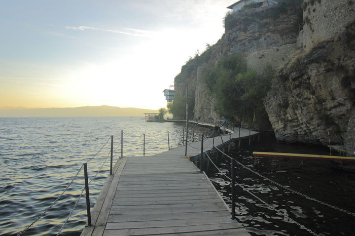 Ohrid Lake boardwalk in Ohris, Macedonia. Ohrid Macedonia Ohrid, Macedonia Travel Boardwalk Nature Ohrid Lake Scenics Tranquility Travel Destinations Water
