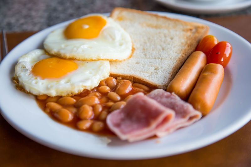 High angle view of fresh english breakfast served in plate