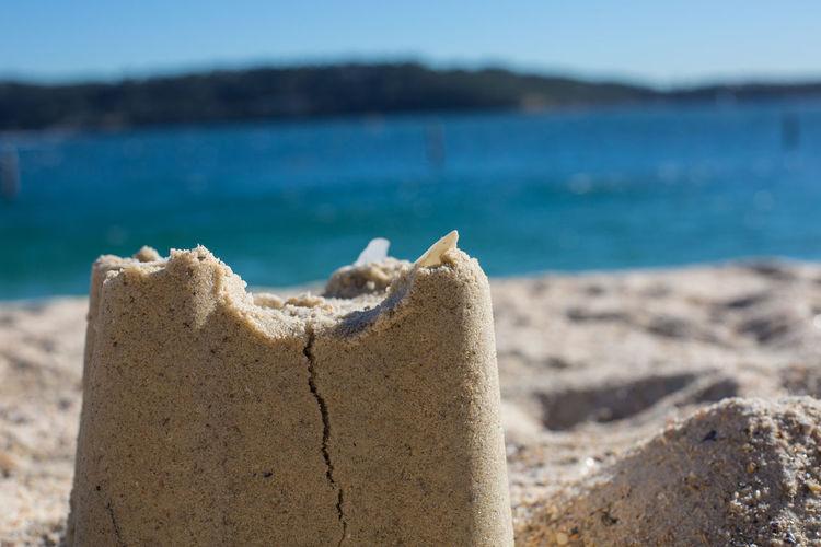 Close-up of sand castle