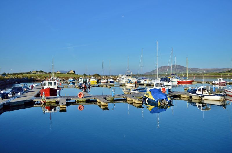 Blue Boat Boats Boats⛵️ Cahersiveen  Calm Clear Sky County Kerry Ireland Ireland🍀 Mast Mode Of Transport Nautical Vessel Outdoors Reflection Sailboat Scenics Sky Tranquil Scene Tranquility Transportation Water