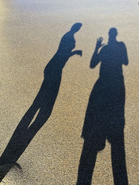 We got hello from shadows Shadow Focus On Shadow Sunlight Togetherness Day Beach Sand People Shadow