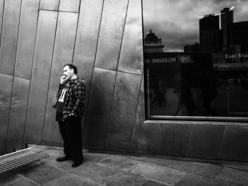Streetphotography Streetphoto_bw Streets Of Melbourne Everydayaustralia Blackieapp Adobelightroommobile MelbournePhotographer Monochrome People Watching Shootermag_australia Shootermag Mobilephotography IPhoneography Shotwithiphone6 Blackandwhite Standing
