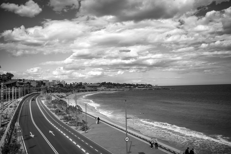 Sky Cloud - Sky Transportation Water High Angle View Road Sea Day Nature City Land Beauty In Nature Architecture Beach Street Outdoors Scenics - Nature Incidental People Travel Blackandwhite Black And White Black & White Black&white Streetphotography