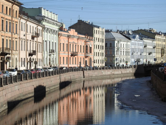 Water Moika River Sankt-Petersburg Sankt-peterburg Russia Colors Of Sankt-Peterburg Springtime Ice Embankment Sunnyday☀️ Sunny Water City Residential Building Reflection Flood Architecture Building Exterior Sky Built Structure Old Town Façade Waterfront TOWNSCAPE Canal Visual Creativity