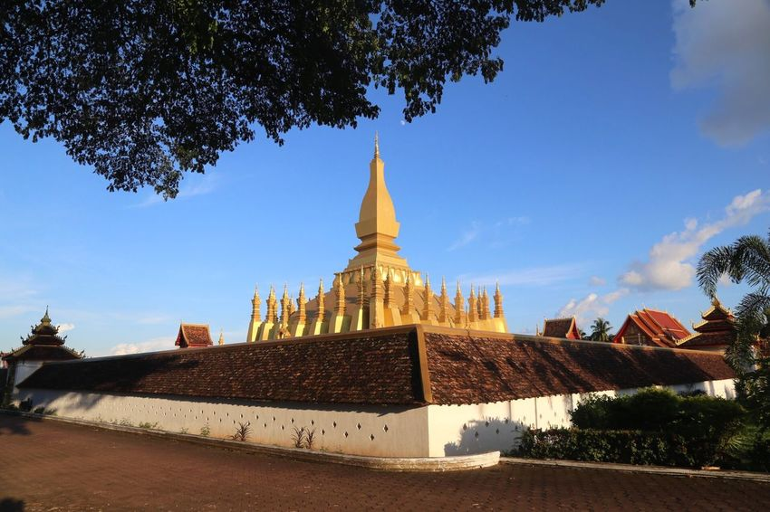 Laos, Vientiane, Pha That Luang Buddhism Stupa Built Structure Architecture Building Exterior Sky Belief Religion Building