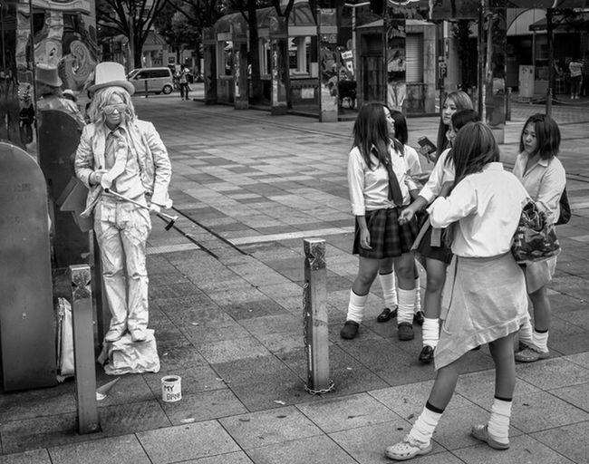 Real or Not Japan Japan Photography Japanese  Streetphotography Blackandwhite Monochrome Uniform Busker City Urban Streetphoto_bw GH4 Panasonic Lumix Panasonic  Lumix Cooljapan