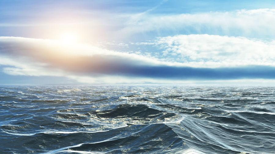 Horizon of the sea at sunset Sea Water Sky Scenics - Nature Beauty In Nature Cloud - Sky Waterfront Idyllic Nature Outdoors Denmark Ocean Photography Ocean Ocean View Sunset Atlantic Ocean Atlantic Waves, Ocean, Nature Waves Wave