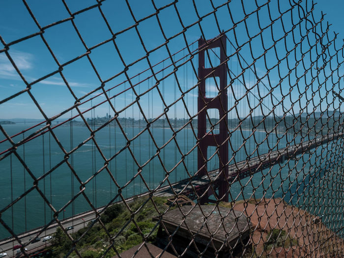 Chainlink fence against clear sky