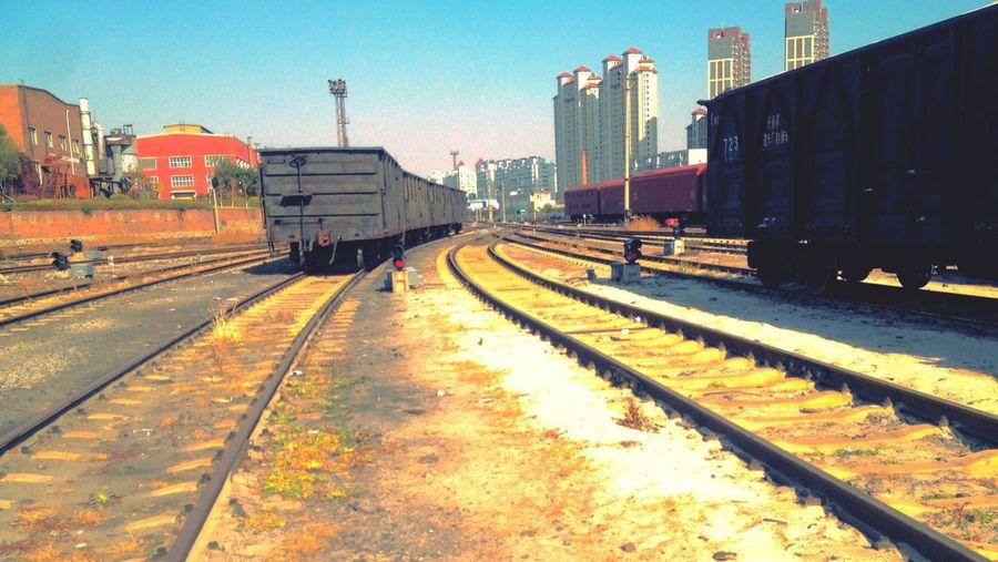 Vanishing Point Changchun Changchun, China Traveling In China Train Tracks Railway Railyard Railroad Urban Landscape Trains Let's Go. Together.