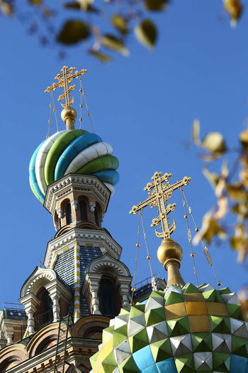 The first stop of my transiberian, St petersburg Architecture Building Exterior Built Structure Clear Sky Clock Day Dome Low Angle View No People Orthodox Church Outdoors Religion Sky Spilled Blood Tower