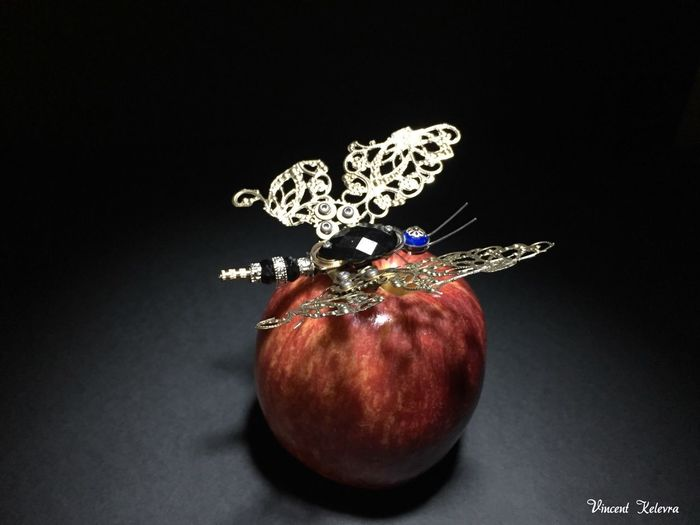 Steampunk Photography Steampunk Steampunk Style Steampunkart Bufferfly Mariposa Insect Steampunk Photography Steampunk Ciberpunk Studio Shot Still Life Black Background Fruit Food And Drink Apple - Fruit No People Indoors  Food Close-up Healthy Eating Red Freshness Day