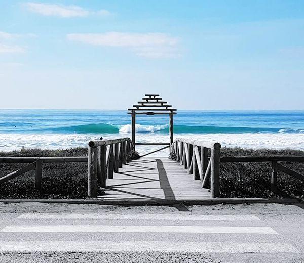 Horizon Over Water Beauty In Nature Playa Beach Puente Pasarela Hacia La Vida Life Cadizfornia Elpalmar