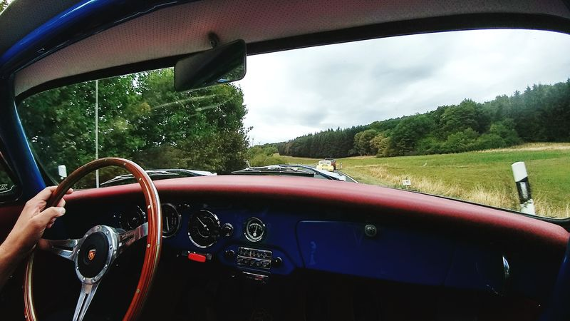 Porsche 356😍 Tree Water Land Vehicle Car Interior Steering Wheel Car Windshield Dashboard Sky Windscreen Vehicle Interior Car Point Of View Side-view Mirror Speedometer Vehicle Seat