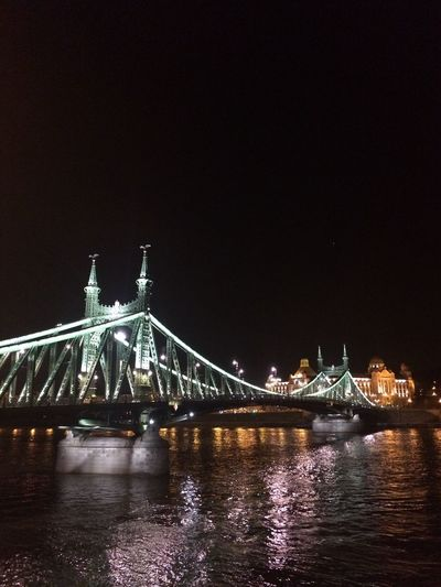 Night Architecture Connection Built Structure Illuminated Bridge - Man Made Structure Suspension Bridge River Tourism Travel Destinations Water Travel Transportation No People Waterfront Sky Building Exterior Outdoors Chain Bridge Nature Budapest Hungary Riverside Donau Travel Photography Your Ticket To Europe