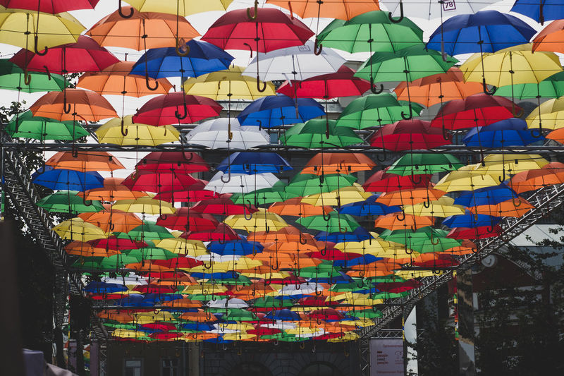 Alley of Soaring Umbrellas. Annual summer festival. Art And Craft Creativity Design Large Group Of Objects Multi Colored No People Outdoors Pattern Representation Shape Umbrella