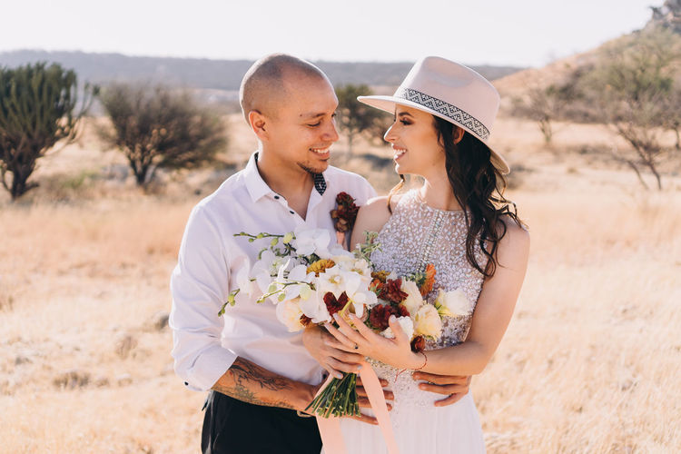 Bride and groom during elopement in nature in querétaro, mexico