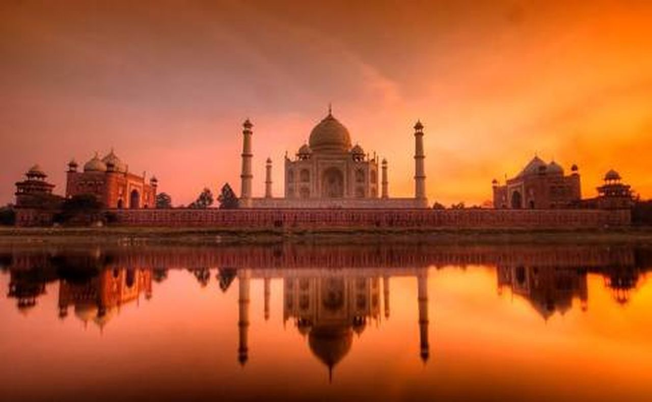 dome, reflection, sunset, architecture, travel destinations, silhouette, marble, night, built structure, building exterior, sky, beauty, outdoors, urban skyline, no people, city