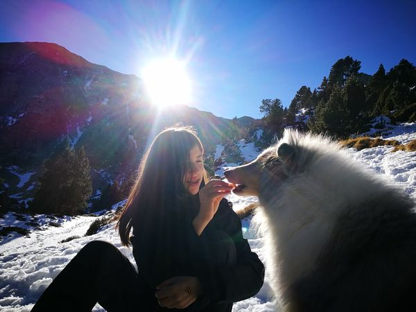 Snow Food Stories Adults Only One Woman Only Only Women One Person Adult Lens Flare People Sunlight Outdoors
