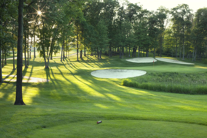 Flag Golf Golf Course Golf Greens Grass Green Color Landscape Minnesota Pin Rays Rays Of Light Red Sand Trap Scenic Sky Sundown Sunlight Tee Box Trees USA