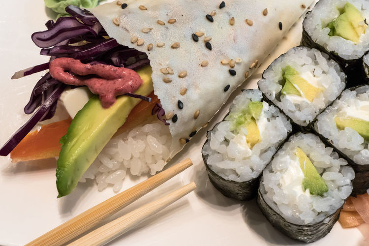 Above Appetizer ASIA Asian  Avocado Background Cheese Chopsticks Cuisine Delicious Dish Food Gourmet Green Healthy Homemade Japan Japanese  Lunch Maki Meal Natural Nature Nori Objects Onion Rice Roll Sauce Seeds Sesame Soy Sushi Taste Tasty Temaki Tomato Traditional Vegan Vegetable Vegetarian View Wasabi White Wood Wooden