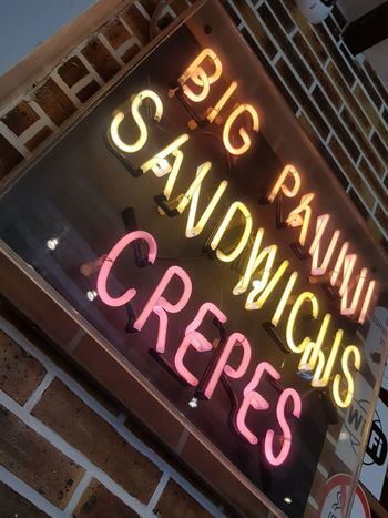 #France #Neon #crepes #neonsign #sandwich #streetfood Low Angle View Multi Colored Neon Sign Text