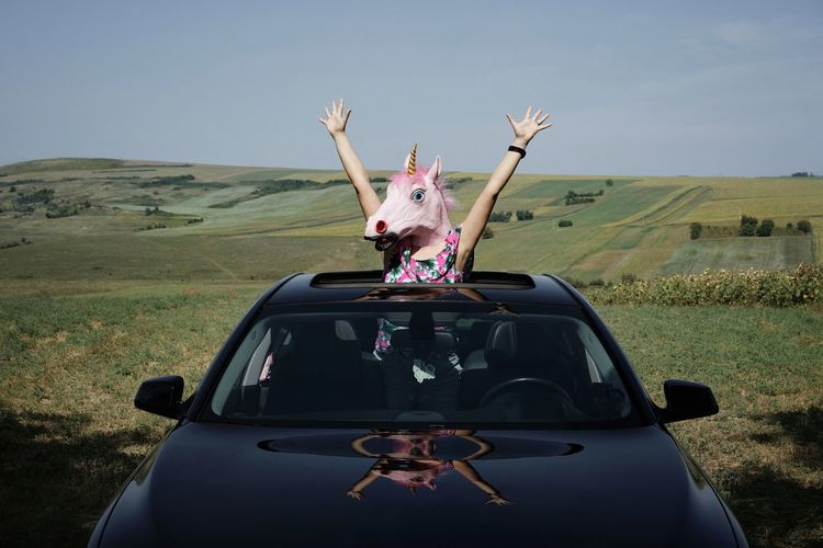 Landscape Nature Unicorn Unicorn Head One Woman Only One Person Sunroof Car Sunroof People Young Women Desert Adventure Escape Car Road Trip Surreal Arms Raised Sky Waving Be Brave A New Beginning 50 Ways Of Seeing: Gratitude Moments Of Happiness