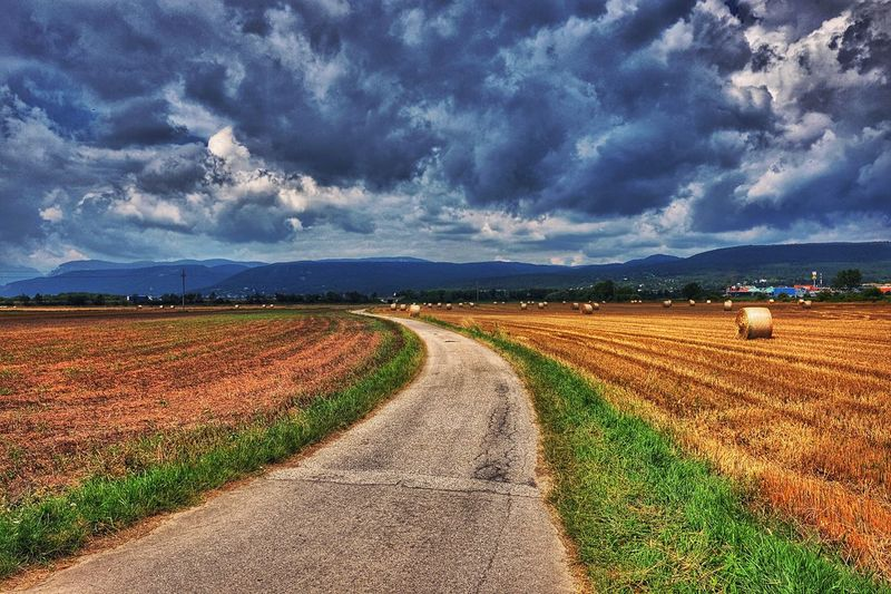 Landscape Agriculture Tranquil Scene Rural Scene Field Road Tranquility Grass Sky Cloud - Sky Cultivated Land Weather Landscape_photography A Photo Like A Painting Capture The Moment Austria Melancholic Landscapes Outdoors Country Road Hay Bales