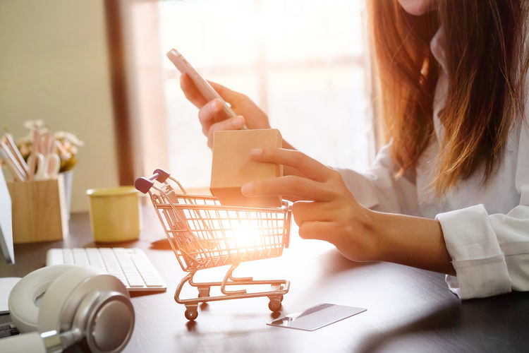 Midsection of woman doing online shopping using mobile phone