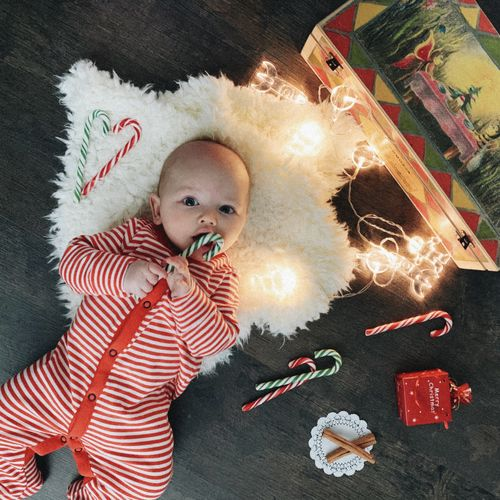 Child Childhood One Person Indoors  Innocence Cute Young Baby High Angle View Christmas Christmas Decoration Christmas Lights Baby In Red Clothes Babyhood Newborn Cute Boy Boy 4 Months Old Celebration Holiday Decoration Christmas Ornament