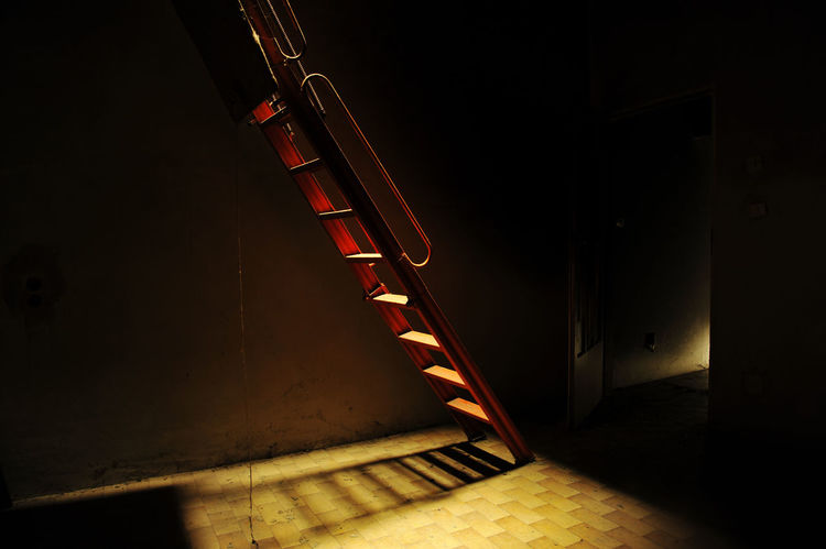 Night No People Ladder Ladders Ladder To Heaven Ladder To Sky Stairs & Shadows Shadow Shadows & Lights Shadows & Light Shadow And Light Abandoned House Abandoned Places Red Ladder