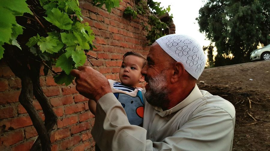 Smiling Grandfather With Grandson Looking At Plant While Standing Against Brick Wall