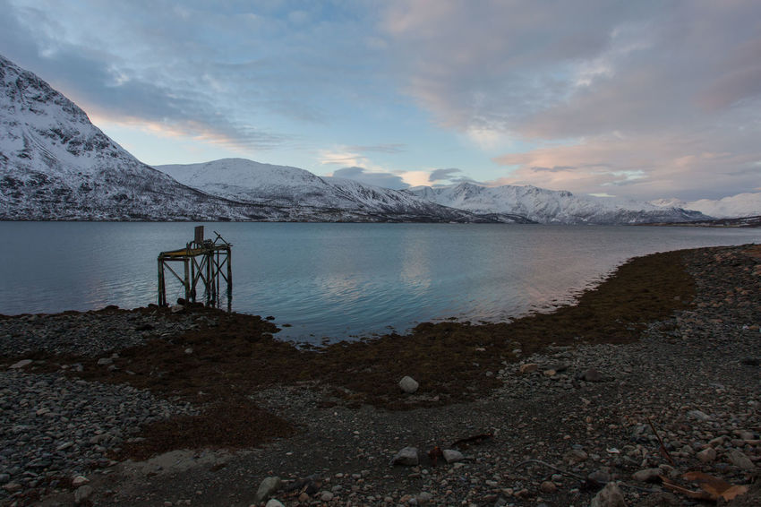 Disused jetty on Ullsfjorden, Norway Arctic Astronomy Beauty In Nature Cold Derelict DISUSED Dusk Fjord Frozen Harbour Mountain Mountain Range No People Norway Outdoors Polar Night Portrait Remote Scenics Snow Tranquil Scene Tranquility Tromsø Water Winter