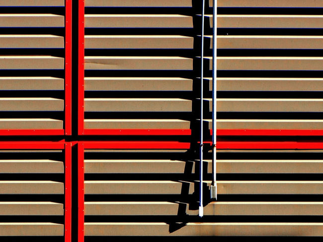 Architecture Backgrounds Blinds Built Structure Close-up Day Full Frame Metal Minimalism No People Pattern Red Red Color Security Shadow Striped Sunlight Wall - Building Feature Window
