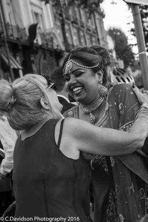 Black And White Bling Family Happy Indian Inlaws London Putney Bridge Saree Smile Wedding