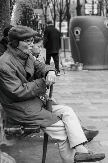 Black And White Chinese Quarter City Life Lost In Thought... Monochrome Mood Capture QuartierChinois Street Photography
