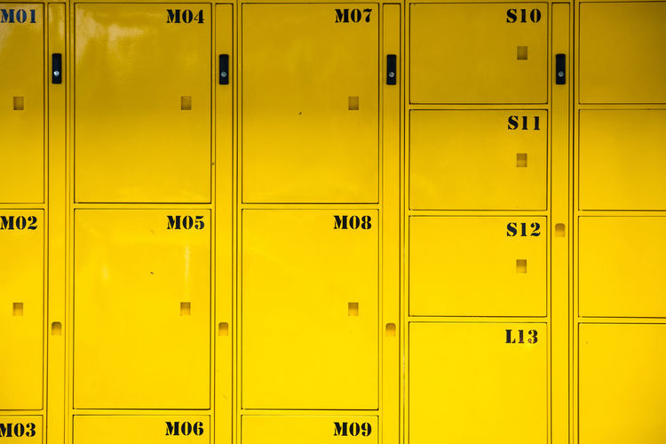 Full frame shot of yellow locker