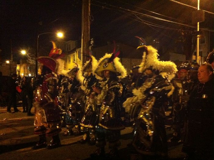 String bands marching down Two Street Mummers NewYearsDay2015 OhDemGoldenSlippers Southphilly