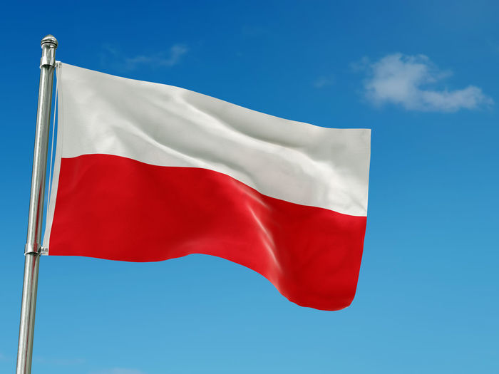 3D render og Polish flag attached to thee pole waving against the sky Sky Flag Patriotism Blue Red Day No People Pole Waving Cloud - Sky White Color Pride National Icon Independence Emotion Poland Polish