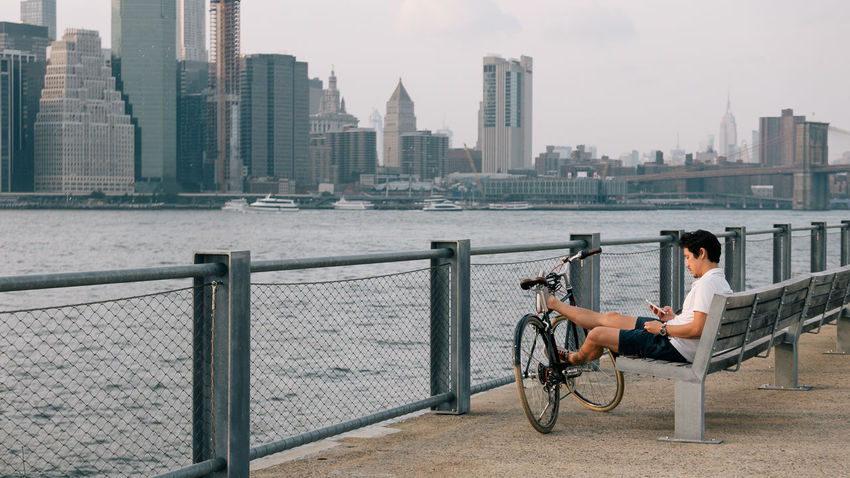 Chilling Cityscape Contemplation Man Manhattan Manhattan Skyline NYC NYC Photography New Yokr New York City New York Skyline  Travel Bike Cycling person Resting Travel Destinations Urban Young Adult