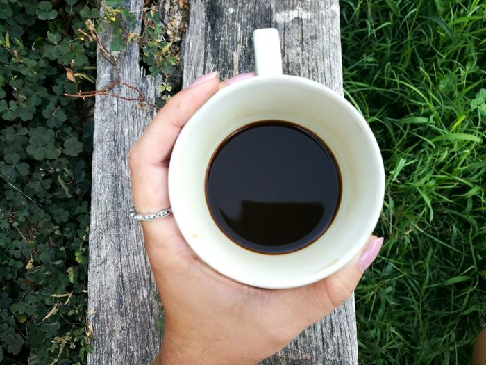 Cropped Image Of Woman Holding Coffee Cup Over Wood