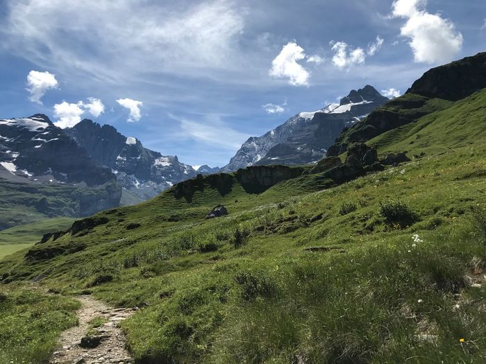 Mountain Nature Beauty In Nature Sky Mountain Range Scenics Tranquility Landscape Green Color Peak Outdoors No People Day Grass Kiental, Switzerland