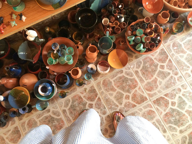 Color Crete High Angle View Indoors  Large Group Of Objects Pottery Pottery Art Variation