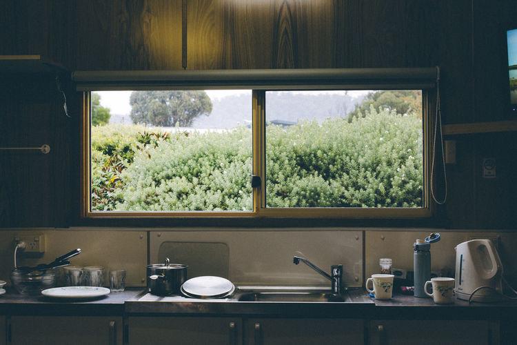Utensils on kitchen counter