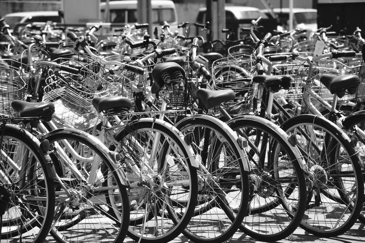 Large Group Of Objects Abundance Bicycle In A Row Transportation Stationary Mode Of Transport Monochrome Metal Parked Repetition Land Vehicle Parking Lot Order Outdoors Group Of Objects Focus On Foreground No People Arranged Collection Eyeem Market The Street Photographer - 2019 EyeEm Awards The Photojournalist - 2019 EyeEm Awards