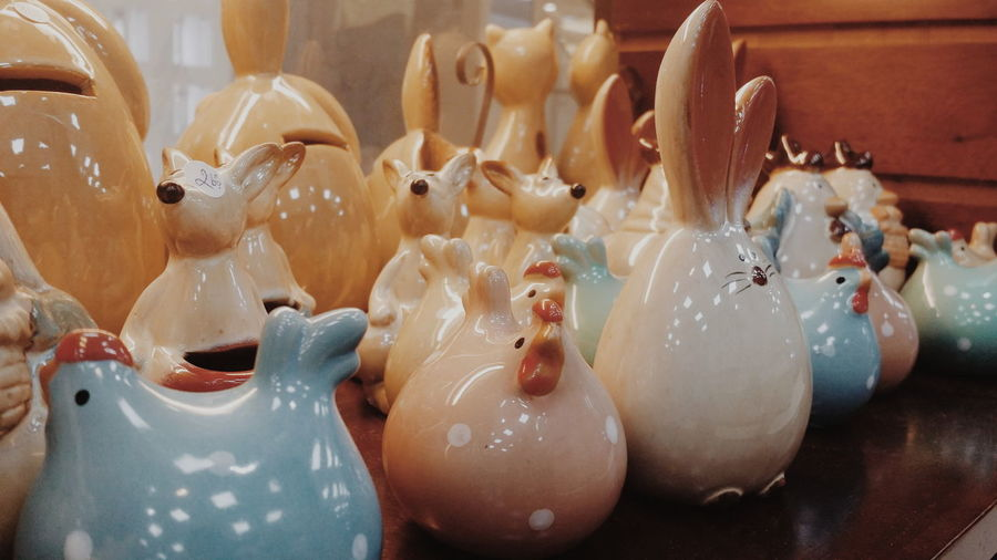 Close-up of porcelain figurines on table