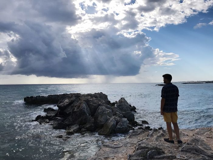 Sea Water Rear View Sky Nature Real People Beauty In Nature Cloud - Sky Scenics Standing Horizon Over Water Rock - Object Leisure Activity One Person Lifestyles Full Length Day Tranquil Scene Beach Outdoors Nature Tranquility Men Clear Sky