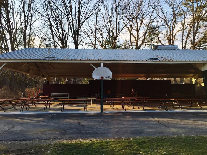 Pavilion Picnic Picnic Tables Basketball Hoop Picnic Ground Outdoors Basketball Outdoor Buildings Empty Empty Places Roof