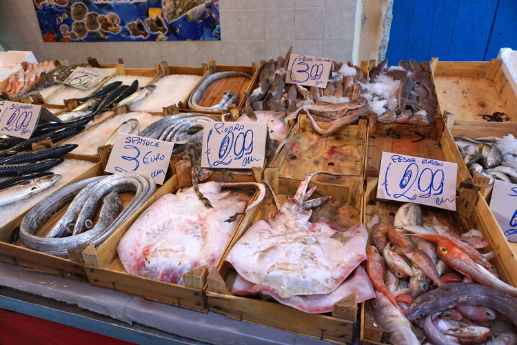 Close-up of fish for sale in market