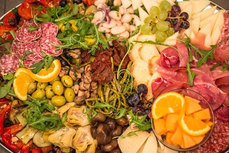 High angle view of various food
